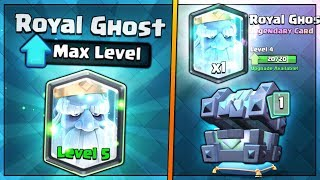 FULLY MAXED ROYAL GHOST UPGRADE! | Clash Royale | BIG LEGENDARY KINGS CHEST OPENING SPREE!