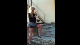 Spontaneous stair workout, sexy long lean legs, flirty mini skirt, heels, Sexy trainer Photo shoot