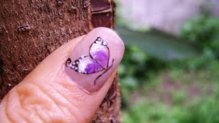 Uñas de Mariposas (muy facil) - Butterfly nails (easy design)