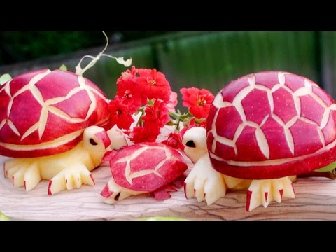 Art In Apple Turtles | Fruit Carving Garnish | Party Food Decoration | Italypaul.co.uk
