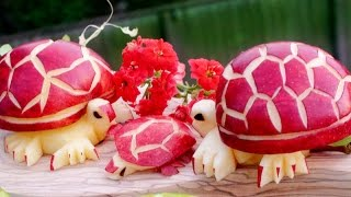 Art In Apple Turtles | Fruit Carving Garnish | Party Food Decoration