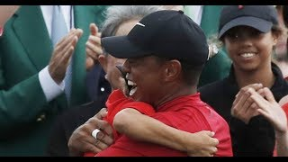 See the emotional moment Tiger Woods embraces his kids after Masters win