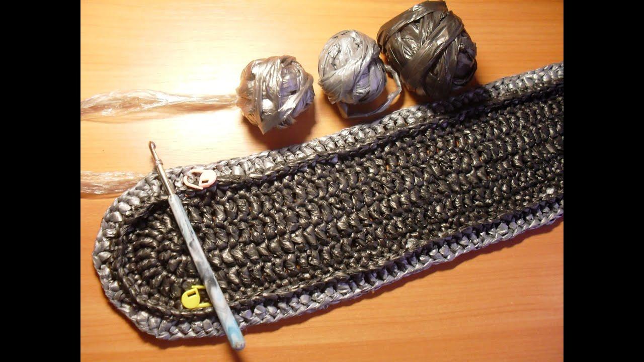 Вязание крючком овального коврика из полиэтиленовых пакетов 65