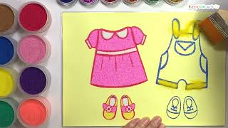 Baby clothes  sand painting/ Learn Colors / Drawing / Study English / Kids Art / Kids Play