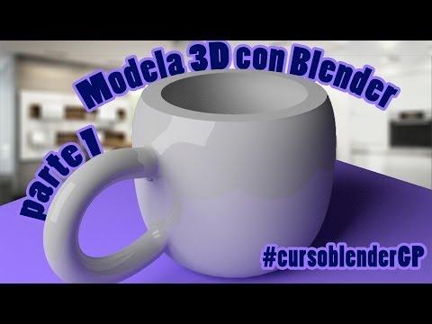 Tutorial Blender 3D para principiantes: modelar taza en 3D #CursoBlenderGP #1 En español