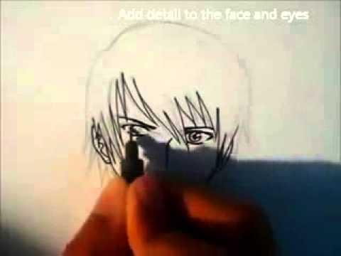 Видео как нарисовать аниме лицо парня