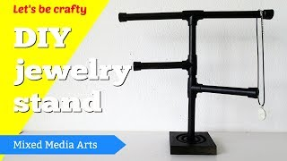 DY jewelry display stands with plumbing pipes and supplies for craft fairs, selling and home