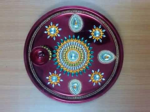 Manufacturers of aarti thali puja thali pooja thali for Aarti thali decoration with kundan