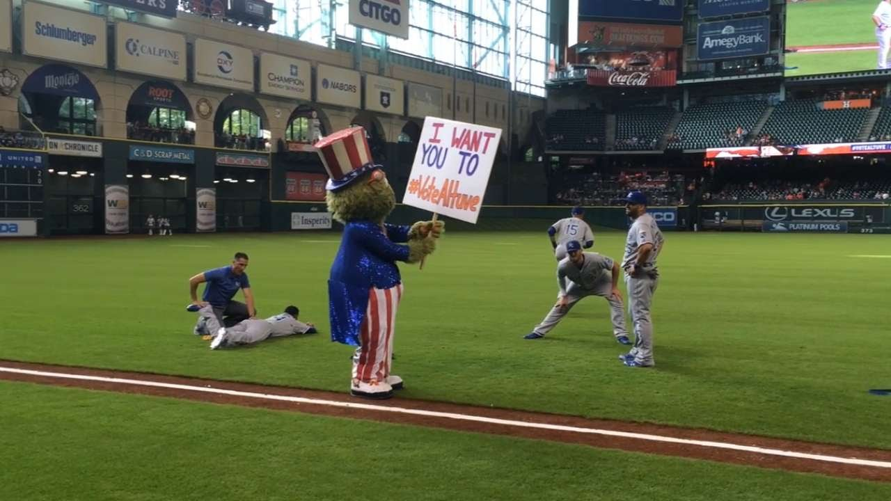 Astros mascot Orbit channels Uncle Sam, says 'Vote for Altuve'