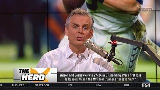 THE HERD | Colin IMPRESSED by Russell Wilson and Seahawks win 27-24 OT, handing 49ers first loss