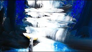 EASY for BEGINNERS ACRYLIC PAINTING TECHNIQUES by Dranitsin | BLUE WATERFALL