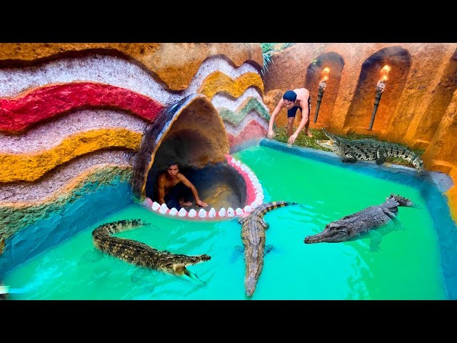 Play this video How To Build Swiming Pool Crocodile Around The Secret Underground House