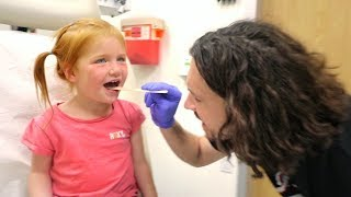 BRAVE DOCTOR VISIT!! Adley needs a throat check up for her voice!