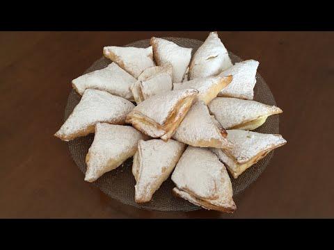 Varaqli xamirdan tvorog nachinkali pechen'e/Творожное печенье из слоёного теста