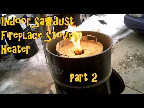 Sawdust Stove Cabin Garage Rocket Stove Heater PART 2