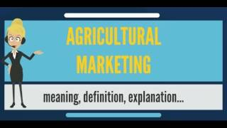 What is AGRICULTURAL MARKETING? What does AGRICULTURAL MARKETING mean?