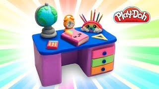 Play Doh Toy School Set. How to Make School Desk with Supplies. Learn Colors. Easy DIY for Kids