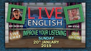 LEARN ENGLISH LIVE - 20th January 2019 - Sleep words and phrases - Mr Steve in Bed - Mr Duncan
