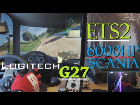 6000hp 250 km/h Scania R730 21 gears - ETS2 Logitech G27. fully manual clutch gameplay. 1080p