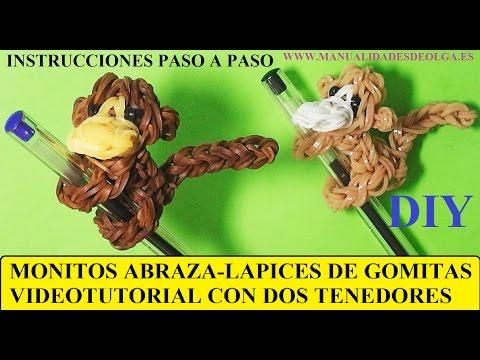 COMO HACER UN MONO ABRAZA-LAPICES DE GOMITAS (LIGAS) (MONKEY CHARM) CON DOS TENE
