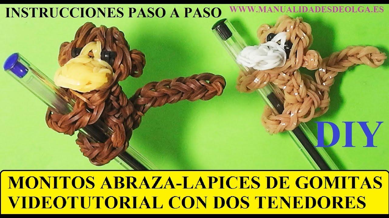 Como hacer un mono abraza lapices de gomitas ligas - Como hacer figuras con chuches ...