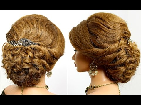 Romantic wedding prom  updo, hairstyle for medium long hair.