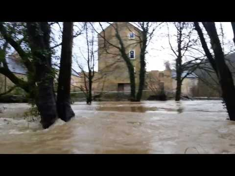 Freshford Mill near Bath UK. Floods Jan 2014 1st video of 3