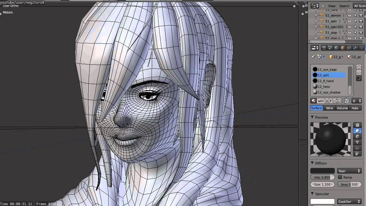 Female Character Modeling In Blender Part 7 : Blender d anime test female model youtube