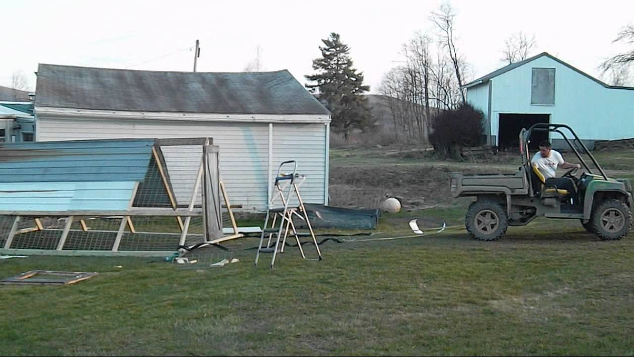 Big backyard chicken tractor youtube for Big chicken tractor
