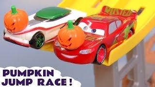 Cars McQueen Pumpkin Jump Race with Hot Wheels Superhero Cars for kids TT4U