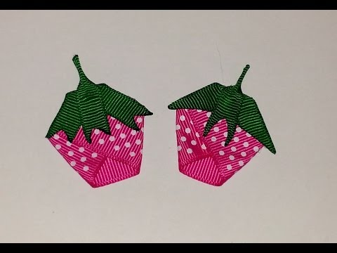 STRAWBERRY Fruit Ribbon Sculpture Summer Hair Clip Bow DIY Free Tutorial by Lacey