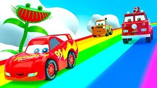 New Cartoon stories for Kids with Little Cars Mcqueen Friends, Monster Plant and Color Rainbow Track