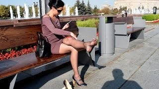 Outdoors Walking. Brown fishnet pantyhose & short rosy brown dress.