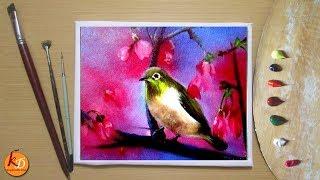Easy Bird Acrylic Painting
