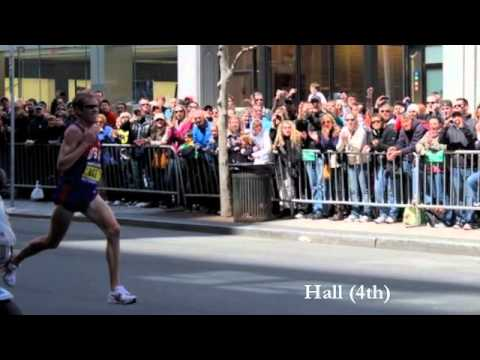 Boston Marathon 2011 at the finish - Ryan Hall, Kara Goucher, Desiree Davila, Mutai, Kilel