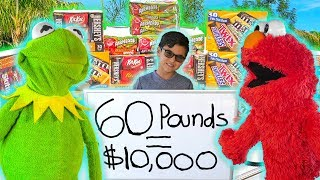 Kermit the Frog and Elmo buy 60 POUNDS of Halloween Candy!
