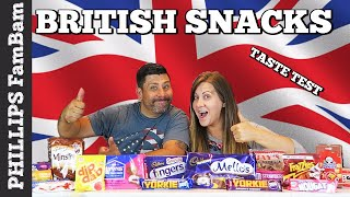 AMERICANS TRY BRITISH FOODS | UK FOOD TASTE TEST | BRITISH SNACKS TASTE TEST | PHILLIPS FamBam