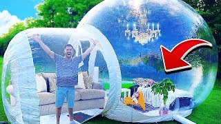 Living In The World's Biggest Bubble House!! (GIANT BUBBLE TENT)