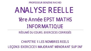 EXERCICES ANALYSE 1ERE ANNEE CHAPITRE1 LECON3