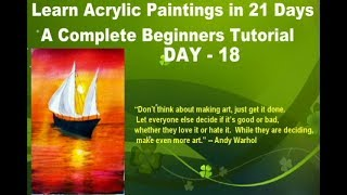 Acrylic Seascape Painting Techniques- Acrylic SunsetI Learn easy acrylic paintings in 21 days DAY-18