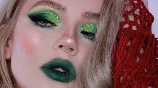 green glam makeup tutorial / holiday look 2018