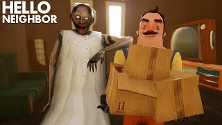 Granny Moves Into THE NEIGHBOR'S HOUSE!!! | Hello Neighbor + Granny The Mobile Horror Game (Mods)