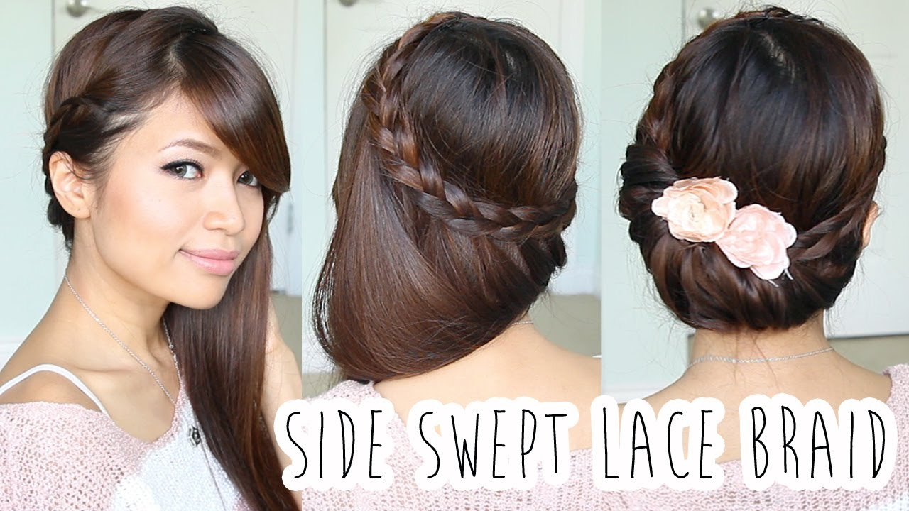 Fold-over Lace Braid Updo Hairstyle Hair Tutorial - YouTube