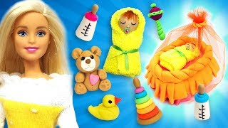 DIY Miniature Baby. Play Doh Barbie Baby Toys Crafts