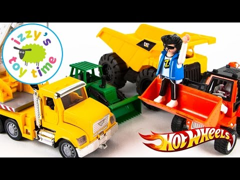 Cars for Kids! CONSTRUCTION VEHICLES! Hot Wheels Fast Lane and Playmobil | Fun Toy Cars for Kids