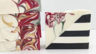 Soapmaking: Diagonal sliced, Striped Soap with Swirls