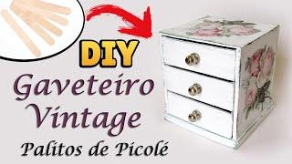 DIY: COMO FAZER GAVETEIRO com PALITOS DE PICOLÉ - Popsicle Sticks Organizer   Presente Dia das Mães