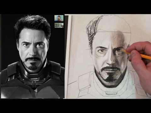 How to Draw Iron Man Tony Stark Step by Step Charcoal and Fixative ...