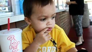 Jacob eating a meal at fosters freeze