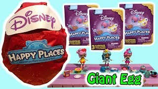 Disney Happy Places GIANT EGG Full Of Blind Bag Toy Surprises Opening Sparkly Red Egg With Shoppies